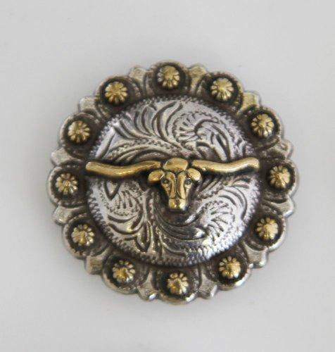 AJ Steer Head Longhorn Berry Concho Western Saddle Decor Antique Silver Gold