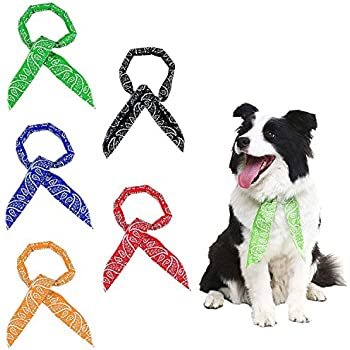 SCENEREAL Dog Ice Cooling Bandana Cool Collar Neck Scarf Wrap Headband Set 5 Pcs for Summer Chill Out (Black, Red, Blue, Orange, Green)