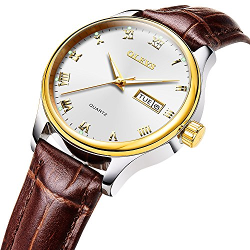 OLEVS Women's Business Dress Watches Luminous Analog Quartz Alloy Genuine Leather Strap Buckle Band Roman Number Calendar Date Day Dial Casual Wristwatch for Lady Mother Lover Waterproof Classic Brown
