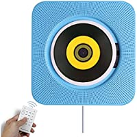 Bluetooth CD Player Speaker Wall Mountable Portable Home Audio Boombox with Remote Control FM Radio Built-in HiFi Speakers USB MP3 Headphone Jack AUX Input Output Blue