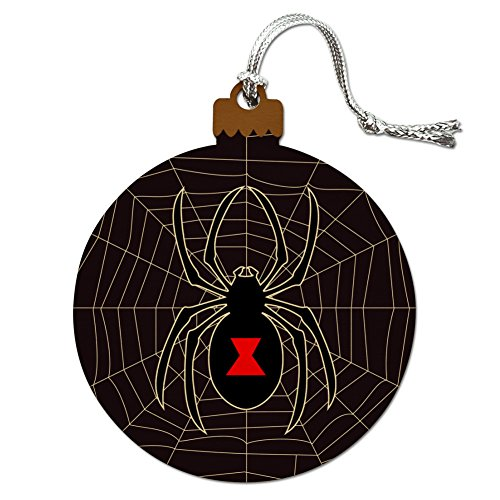 Black Widow Spider on Web Wood Christmas Tree Holiday Ornament