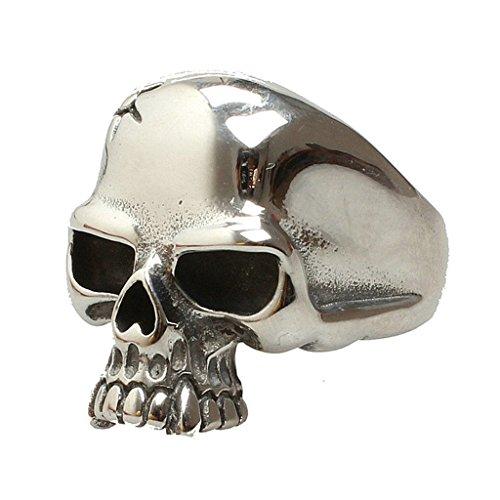 Aooaz Pour hommes En acier inoxydable bague Plaqué argent Tête de crâne poli bande Punk gothique Vintage Retro Biker