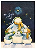 Cheap Snowman Decorative Garden Flag 12″X18″ Winter & Christmas Designer Flag Weatherproof, Small Banner Size (Snowman Family & Stars)