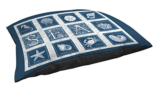 Manual Woodworkers & Weavers Indoor/Outdoor Small Breed Pet Bed, Sea Scapes Sea Tiles, Blue For Sale