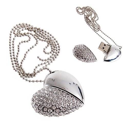 - YOIOY 16GB USB Flash Drive Necklace - Jeweled Metal Heart USB memory stick Pendant