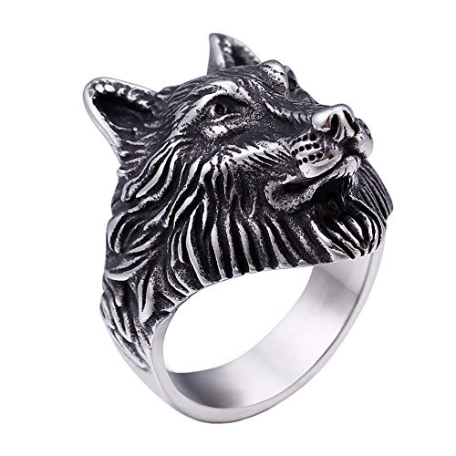PAURO Men's Stainless Steel Silver Black Vintage Wolf Head Biker Ring Size 8