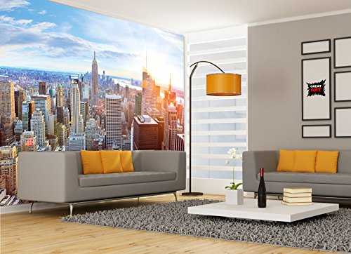 Great Art Wallpaper New York Skyline Wall Decoration Sunset Manhattan Penthouse Panorama Usa America Big Apple 132 3 X 93 7 Inch 336 X 238 Cm