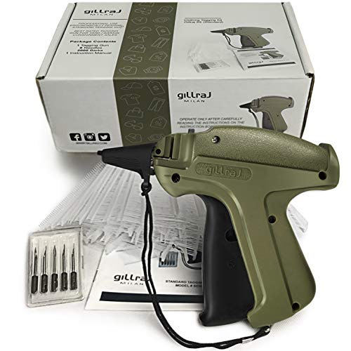 "GILLRAJ MILAN Clothes Tagging Gun with 2000 2"" Standard Barbs and 6 Needles Clothing Retail Price Tag Gun Kit for Boutique Store Warehouse Consignment Garage Yard Sale (2"" 2000)"