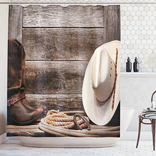 Ambesonne Western Decor Collection, American West Rodeo Traditional Straw Cowboy Hat with Authentic Leather Boots Print, Polyester Fabric Bathroom Shower Curtain Set with Hooks, Beige Brown