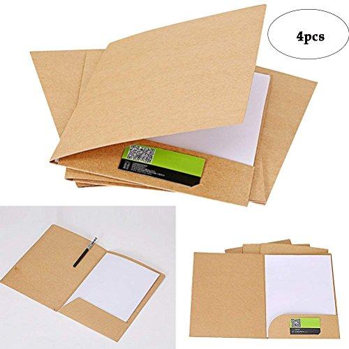 BinaryABC A4 Brown Kraft File Folder, Kraft Paper Presentation Folder Project File Document Folder,4 Pcs