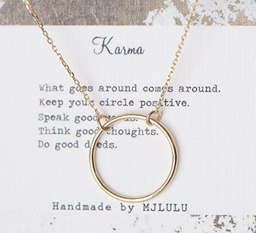 Simple Minimal Karma 15 mm Circle Sterling Silver 925 Necklace_ 14K Gold (Karma 14k Necklace)