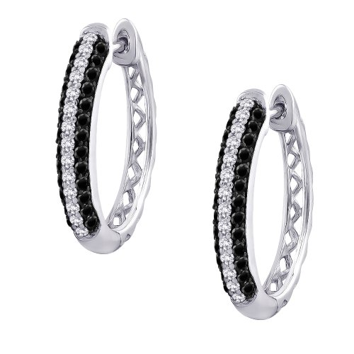 Black and White Diamond Hoop Earrings in 10K White Gold (3/4 cttw) by KATARINA (Image #2)