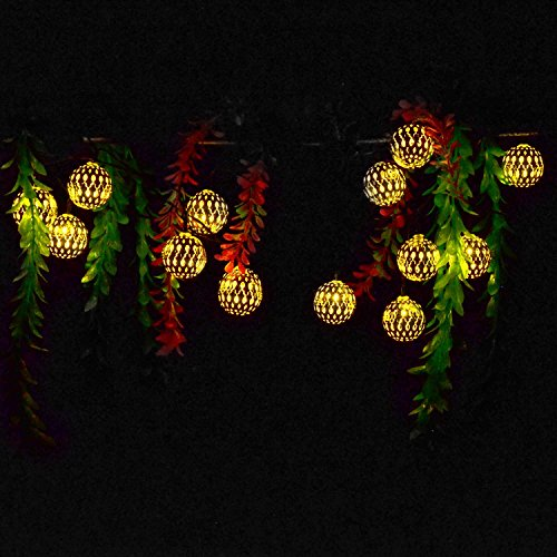 ACEHOME Solar Globe String Lights, 20 LED 16 Ft Metal Moroccan Fairy String Lights Orb Lantern Christmas Solar Powered Lights for Outdoor Garden, Yard, Patio, Party, Home Decoration, Warm white