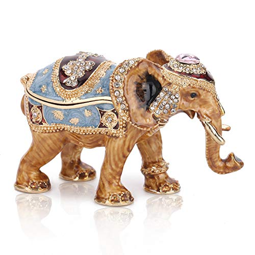 Crystal Elephant Trinket Box - THREE FISH CRYSTAL Hinged Trinket Box Gifts Hand-Painted Patterns Trinket Bejeweled Box Collectible (Elephant)