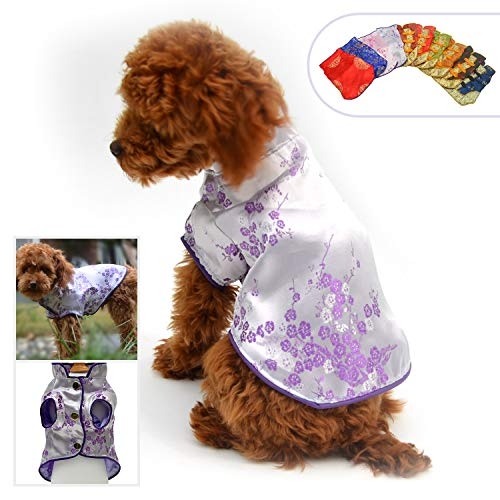 Lovelonglong 2019 Dog Costumes Cheongsam Qipao Dresses for Small Dogs Pet Tang Dynasty Costume for Toy Poodle Yorkshire Terrier M Violet]()