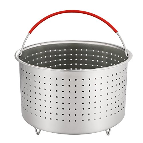 Aozita Steamer Basket for Instant Pot Accessories 5/6/8 Qt - Stainless Steel Steam Insert with Premium Handle for 5/6/8 Qt Pressure Cookers - Vegetables, Eggs, Meats, etc ()