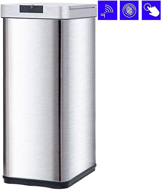 BestMassage Trash Can Kitchen Trash Can Trash Bin for Bathroom Office  Living Room with 13 Gallon Capacity Touch Free Automatic Sensor Trash Can