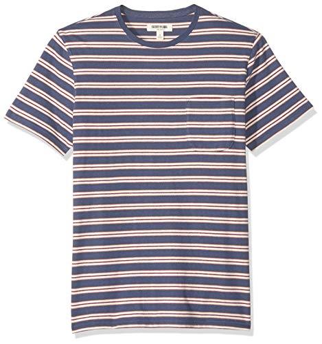 Goodthreads Men's Short-Sleeve Sueded Jersey Crewneck Pocket T-Shirt, Denim Retro Stripe, Medium ()