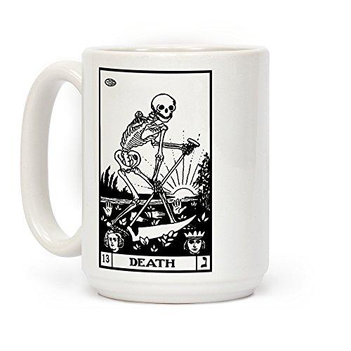 LookHUMAN Death Tarot White 15 Ounce Ceramic Coffee -