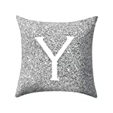 Letter Pillow Case Covers Metallic Throw Pillow Case 18x18'' A-Z Letter Alphabets Cushion Cover Polyester Pillowcase for Home Sofa Couch Decor (Y)