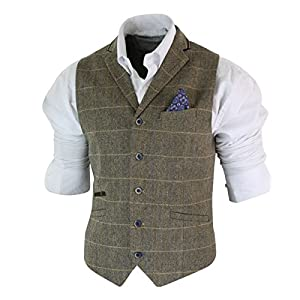 Mens Classic Tweed Herringbone Check Brown Grey Slim Fit Vintage Waistcoat Gilet