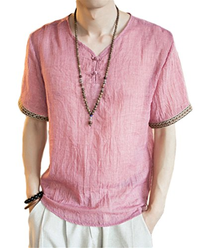 Singapore National Costume (autumn retro national style men embroidered three quarter sleeve linen t shirt solid tang costume linen shirt big color1 XXL)