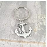 Anchor Keychain, large anchor silver charm, boating Keyring, dad gift, yacht keyring, navy, reserves, gift for him, sailor, marine
