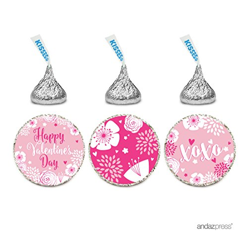 Andaz Press Pink Floral Flowers Valentine's Day Chocolate Drop Labels Trio, Fits Hershey's Kisses Party Favors, Happy Valentine's Day, ()