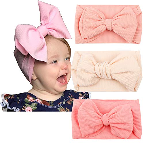 Bow Wrap - Baby Headband Large Bows Headwrap Stretch Textured Fabric Headbands Bows