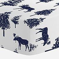Carousel Designs Navy Moose Crib Sheet - Organic 100% Cotton Fitted Crib Shee...