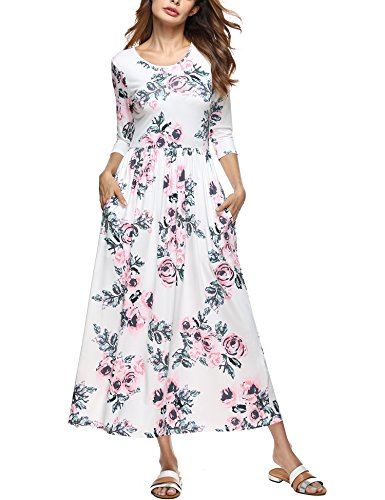 Macr&Steve Women's Floral Print Crew Neck Long Sleeve Empire Flower Maxi Casual Dress With Pockets,White,Large - Gray Floral Dress