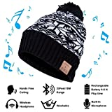 Vichannel 4.1 Bluetooth Beanie Warm Hat Running Headphones Wireless Musical Knit Cap with Stereo Headsets & Mic Unique Christmas Tech Gifts Thick Winter Hat for Women, Men, Boys and Girls ( Black)