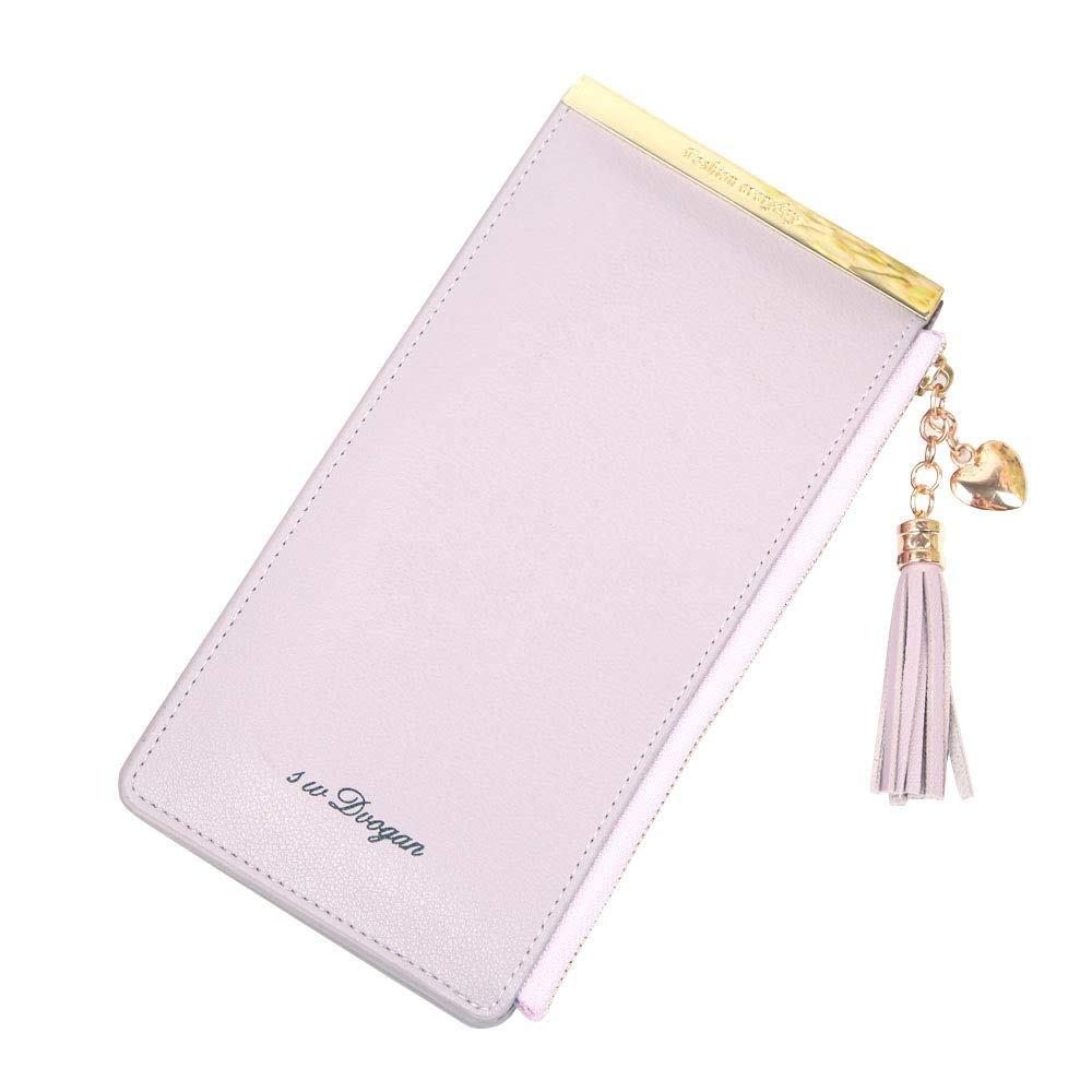 Women\'s Wallet with RFID Blocking, Leather Large Capacity Clutch Wallet Ladies Credit Card Holder Organizer (Purple)