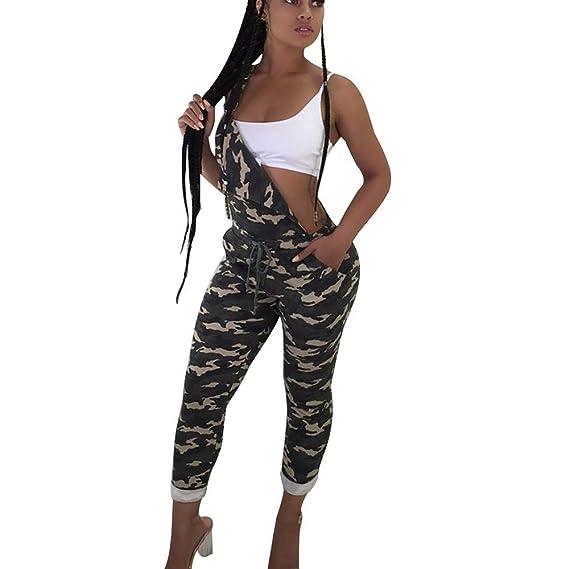 Damen Overall Strand Sommer Hose Mode Strampler Tarnfarbe Bedruckt