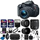 Canon EOS Rebel T5i Digital SLR Camera with EF-S 18-55mm f/3.5-5.6 IS Lens, 58mm 2x Lens, Wide Angle Lens and Complete Deluxe Accessory Bundle