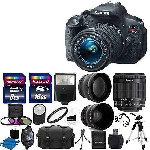 Canon EOS Rebel T5i Digital SLR Camera with EF-S 18-55mm f/3.5-5.6 IS Lens, 58mm 2x Lens, Wide Angle Lens and Complete Deluxe Accessory Bundle by Canon