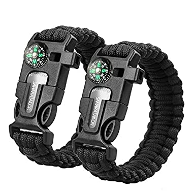 Sahara Sailor Multifunctional Paracord Bracelet Survival Kit with Compass Flint Fire Starter Scraper Whistle, 2-Pcs, 9 Inch Black