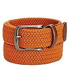 Perry Ellis Portfolio Mens Webbed Leather Trim Casual Belt Orange L