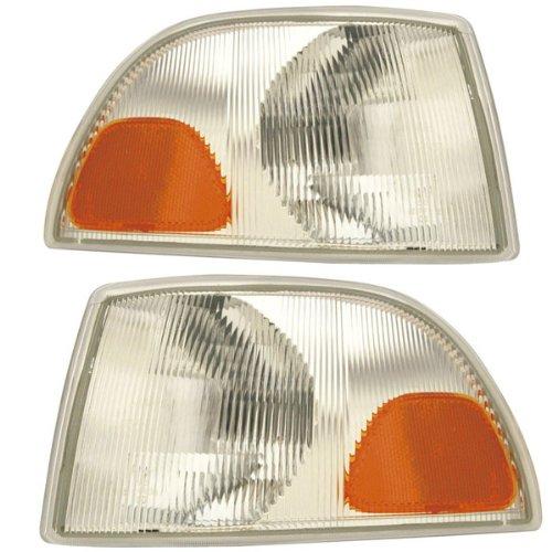 1998-2002 Volvo C70 & 1998-2000 S70, V70 Corner Park Light Turn Signal Marker Lamp Set Pair Right Passenger AND Left Driver Side (1998 98 1999 99 2000 00 2001 01 2002 02)