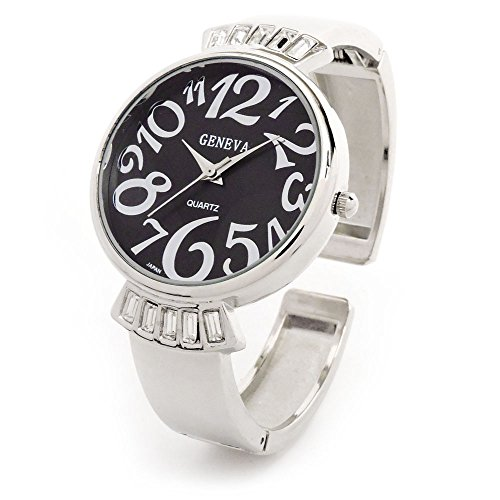 Silver Black Crystal Band Large Face Women's Bangle Cuff Watch