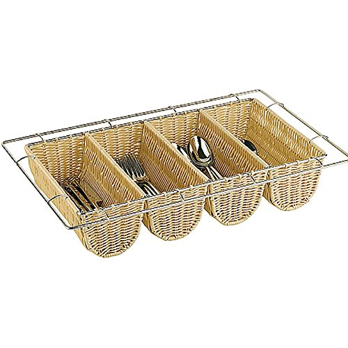 Paderno World Cuisine Polyrattan Four Compartment Condiment/Silverware Basket, 1/1 GN Light Wood Tone 42584-04 by Paderno World Cuisine (Image #2)