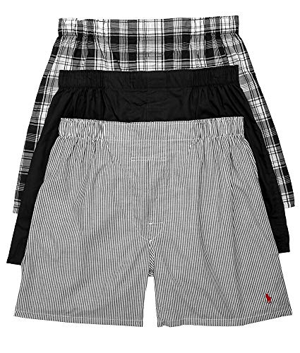 Polo Ralph Lauren Men's Classic Fit 3 Packaged Woven Boxers Bengal Stripe/Stockton Plaid/Polo Black Large