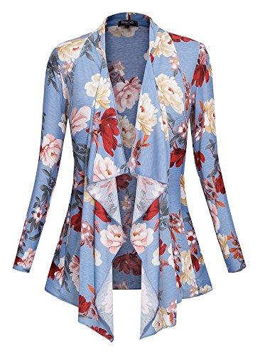 Urban CoCo Women's Drape Front Open Cardigan Long Sleeve Irregular Hem (# 2-2, 2XL) by Urban CoCo (Image #1)