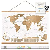 Nivi Maps World Map Scratch Off (Large) International Travel Poster with Frame | Country Flags, Continents, Major Cities, USA States, Provinces | Vibrant Colors | Compact Gift Tube