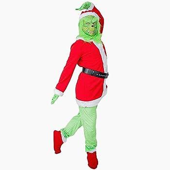 ZOORO Grinch máscara con Gorro de Papá Noel, Guantes de Disfraz ...