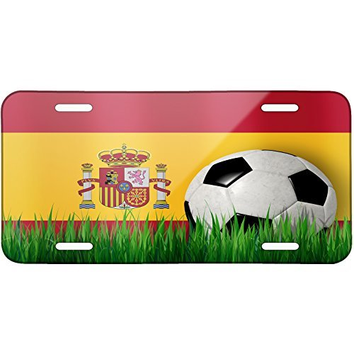 Soccer Team Flag Spain Metal License Plate 6X12 Inch by Saniwa
