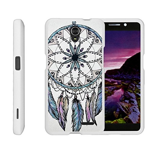 TurtleArmor | ZTE Avid Plus Case | ZTE Avid Trio Case | ZTE ZFive 2 Case [Slim Duo] Two Piece Hard Cover Slim Snap On Case on White – Dreamcatcher Feathers