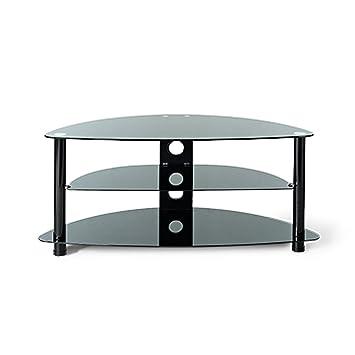 Guaranteed4less Glass Tv Stand Corner Unit Cabinet Black 3 Tier