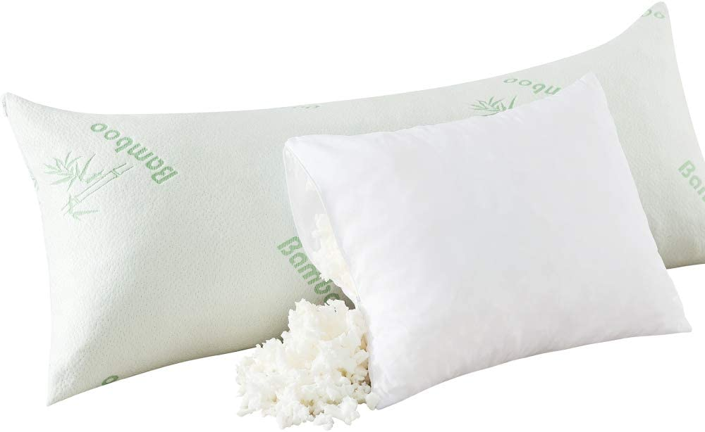 Ubauba Luxury Shredded Memory Foam Body Pillow, Adjustable Firm Long Pillows for Adults with Breathable Bamboo Cover, Cooling Large Hug Pillow for Sleeping   20x54 inch