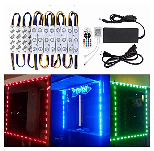 10FT Storefront Window LED Light Kit 5050 RGB Injection LED Module Light with Power Plug and 24 Key Remote Controller ()